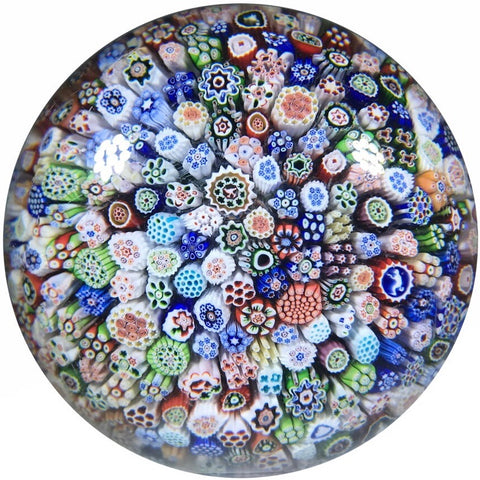 Antique Baccarat B1848 Art Glass Paperweight Closepack Millefiori W/ Silhouette Canes