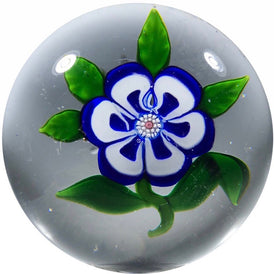 Antique Baccarat Art Glass Paperweight Lampwork Blue & White Primrose