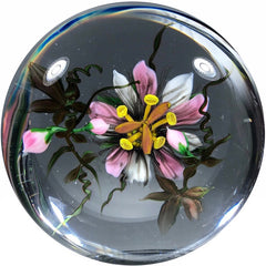 One of One Rick Ayotte Art Glass Paperweight Lampwork Passion Flower