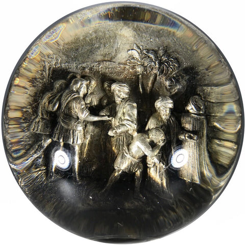 Antique French Pinchbeck Art Glass Paperweight Dimensional Trade Scene with Marble Base