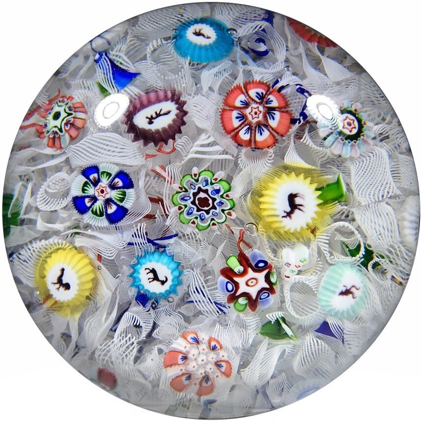 Antique Baccarat Art Glass Paperweight Spaced Complex Millefiori W/ Silhouette Canes