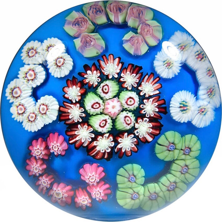 Antique Clichy Art Glass Paperweight C-Scroll Millefiori on Blue Ground with Rose Canes
