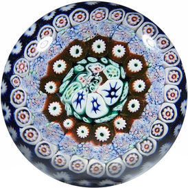 Antique Bacchus Art Glass Paperweight Concentric Millefiori in Blue Staves