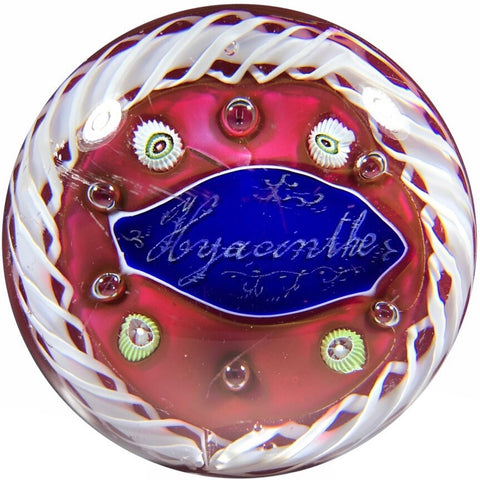 Antique Val St. Lambert Art Glass Paperweight Millefiori & Hyacinthe Plaque on Red Ground