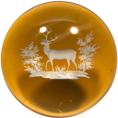 Antique Baccarat/Bohemian Art Glass Paperweight Engraved Amber Flash Stag