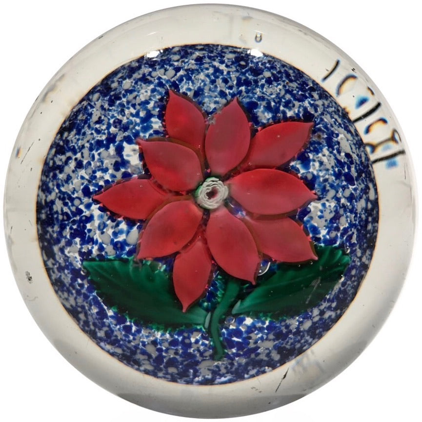 Antique Boston & Sandwich Art Glass Paperweight Poinsettia on Blue Jasper Ground