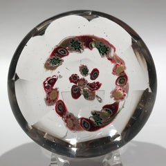 Antique Unknown French or Belgian Art Glass Paperweight Complex Millefiori