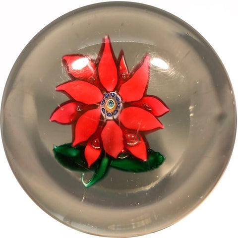 Antique Boston & Sandwich Art Glass Paperweight Lampwork Poinsettia Millefiori Center