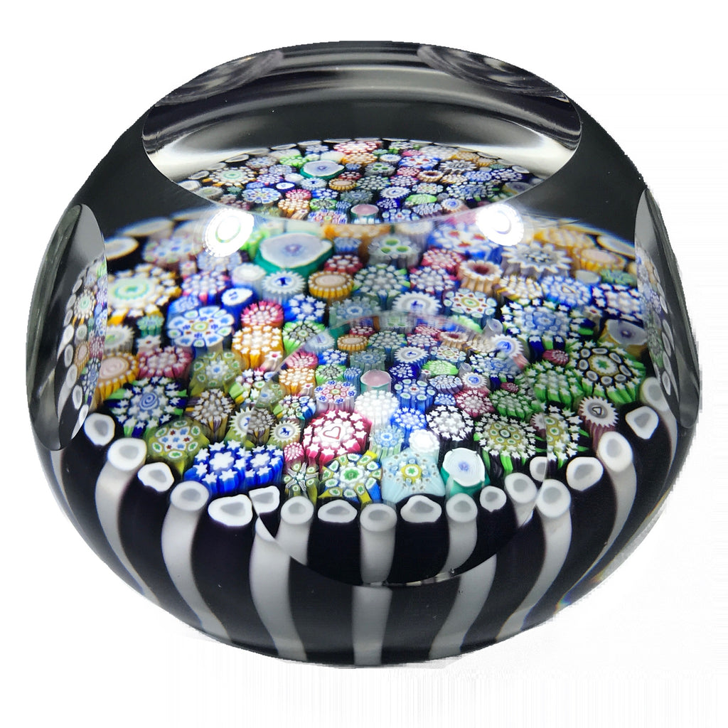 Faceted John Deacons 2018 Art Glass Paperweight Closepack Millefiori w/ Silhouette Canes in Stave Basket