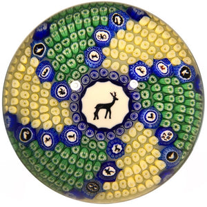 Baccarat Limited Edition Art Glass Paperweight Gridel Stag Millefiori Carpet Ground