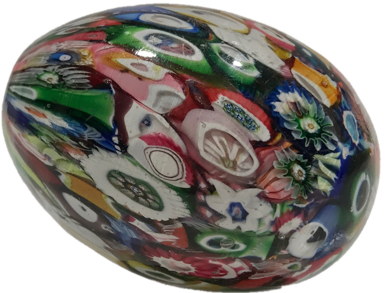 Antique Saint Louis Egg-shaped Art Glass Paperweight Millefiori Hand-cooler