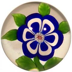 Miniature Baccarat Art Glass paperweight Lampwork Blue & White Primrose