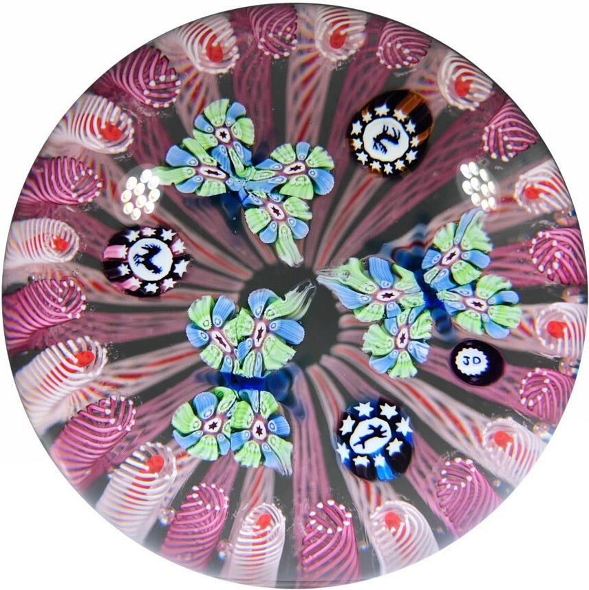 John Deacons Art Glass Paperweight Silhouette Canes and Millefiori Butterflies in Pink Staves