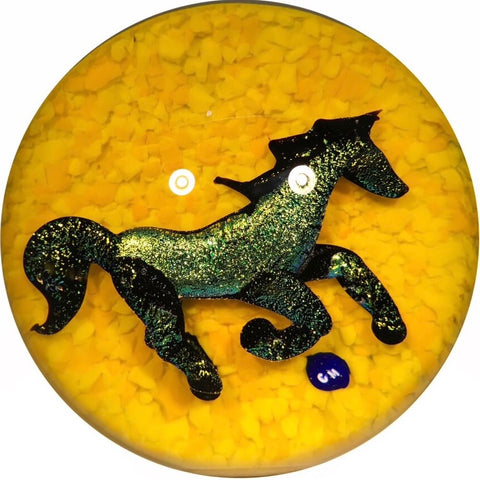 Signed Lewis Wilson Art Glass Paperweight Lampwork Dichroic Horse on Yellow Ground