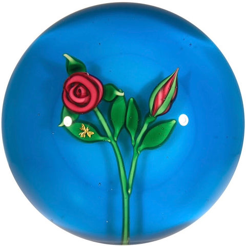 Charles Kaziun Jr. Art Glass Paperweight Lampwork Rose with Gold Bee Blue Ground