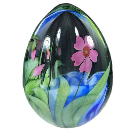 Daniel Salazar Lundberg Studios Art Glass Paperweight Hollow Blown Lampwork Flower Egg