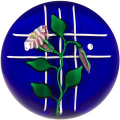 Charles Kaziun Jr. Art Glass Paperweight Lampwork Morning Glories on Trellis
