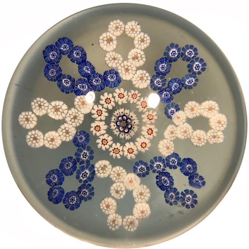 Antique Baccarat Art Glass Paperweight Interlaced Complex Millefiori Garland