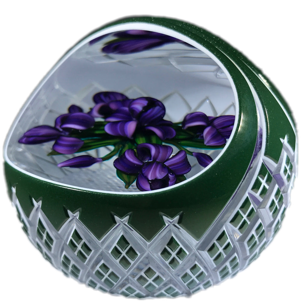 Ray Banford & Ed Poore Art Glass Paperweight Lampwork Iris Bouquet Fancy Cut Green Basket