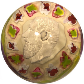 Antique Val St. Lambert Art Glass Paperweight Sulphide on White with Millefiori & Torsade