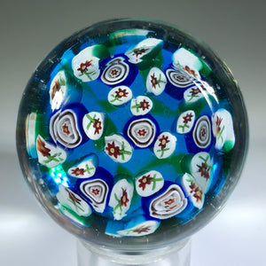 Vintage Murano Miniature Art Glass Paperweight Flower Murrine & Millefiori