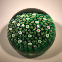 Modern Murano Art Glass Paperweight Closepack Millefiori Carpet Ground