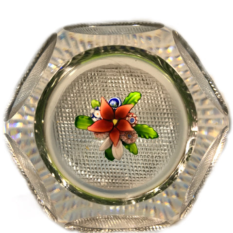 Antique Saint Louis Art Glass Paperweight Faceted Upright Lampwork Millefiori Bouquet