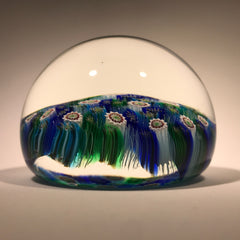 Modern Murano Art Glass Paperweight Closepack Millefiori Carpet Ground 2