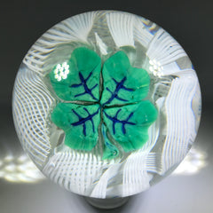 Vintage Murano Fratelli Toso Art Glass Paperweight Shamrock 4 Leaf Clover Murrine