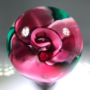 Vintage Murano Fratelli Toso Crimp Rose Style Art Glass Paperweight