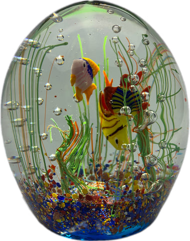 Large Vintage Murano Art Glass Lampwork Tropical Fish Aquarium Sculpture