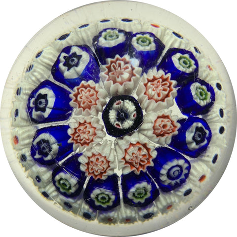 Unknown Antique Art Glass Paperweight With Concentric Millefiori On Clear Ground