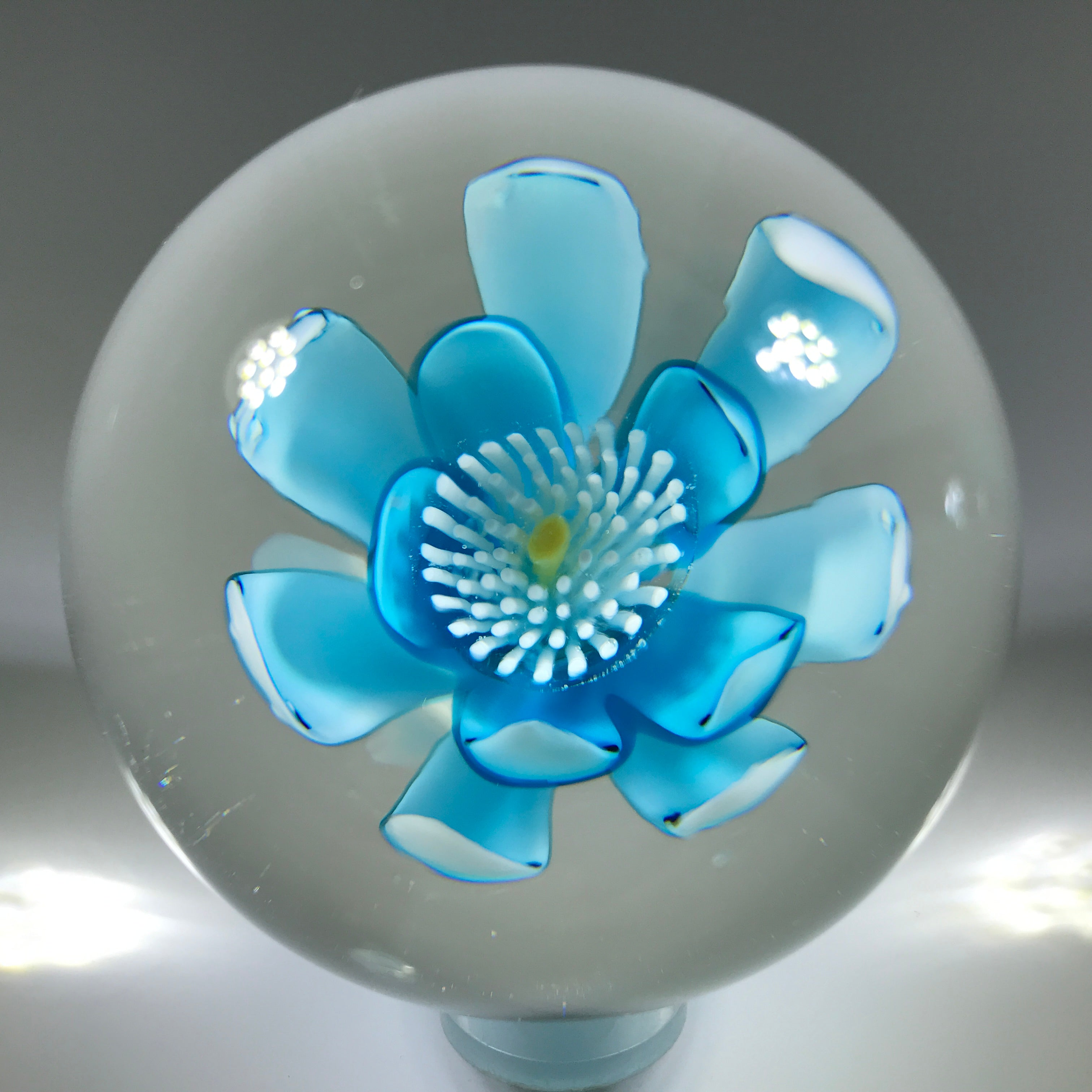 Vintage Murano Art Glass Paperweight Crimp Rose Style Blue Flower