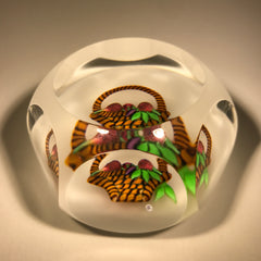 Baccarat Faceted Art Glass Paperweight Lampwork Basket of Figs LE #97 of 300