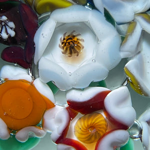 Vintage Harold Hacker Colorful Flamework Flower Bouquet Glass Art Paperweight