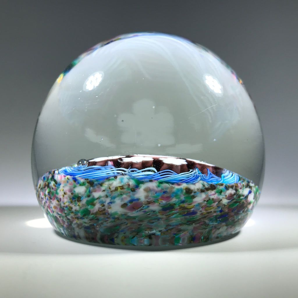 Vintage Murano Art Glass Paperweight Millefiori and Blue Torsade