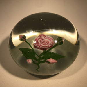 Vintage Harold Hacker Art Glass Paperweight Rose Large Rose Murrine Bouquet