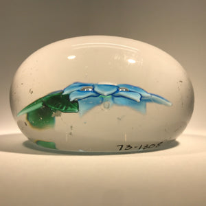 Antique Boston & Sandwich Art Glass Paperweight Lampwork Blue Poinsettia
