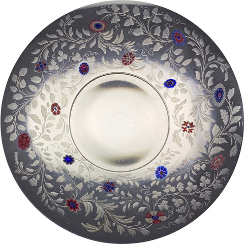 Antique Baccarat Engraved Vines and Millefiori Encrusted Dessert Dish