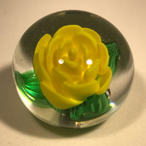 Rare Signed Charles Kaziun Jr Art Glass Paperweight Botton Yellow Crimp Rose