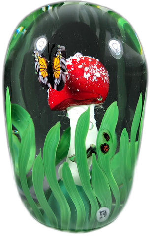 Jesse Taj 2018 Art Glass Paperweight Lampwork Mushroom w/ Murrine Butterfly & Insects