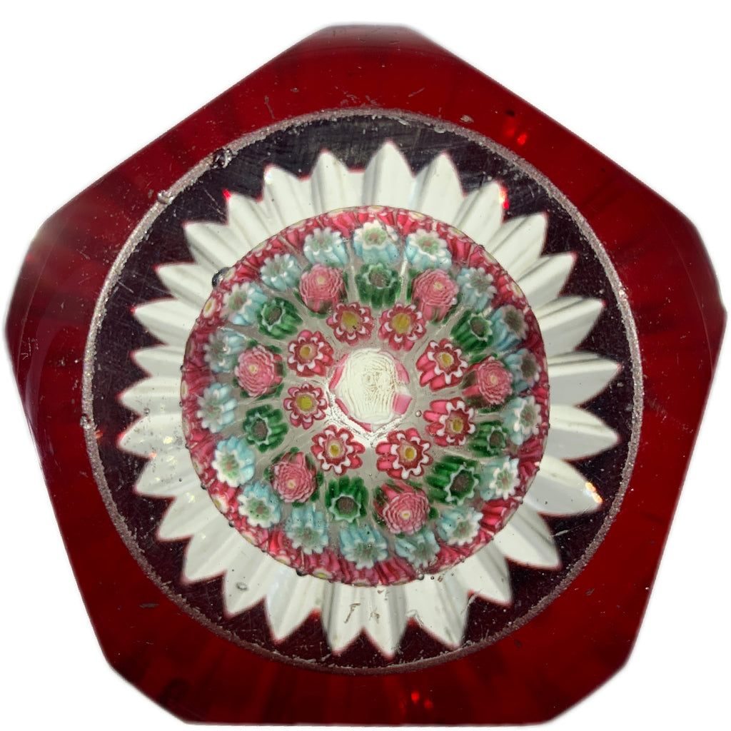 Extremely Rare Antique Harrach Concentric Millefiori Mushroom with Transparent Red Overlay
