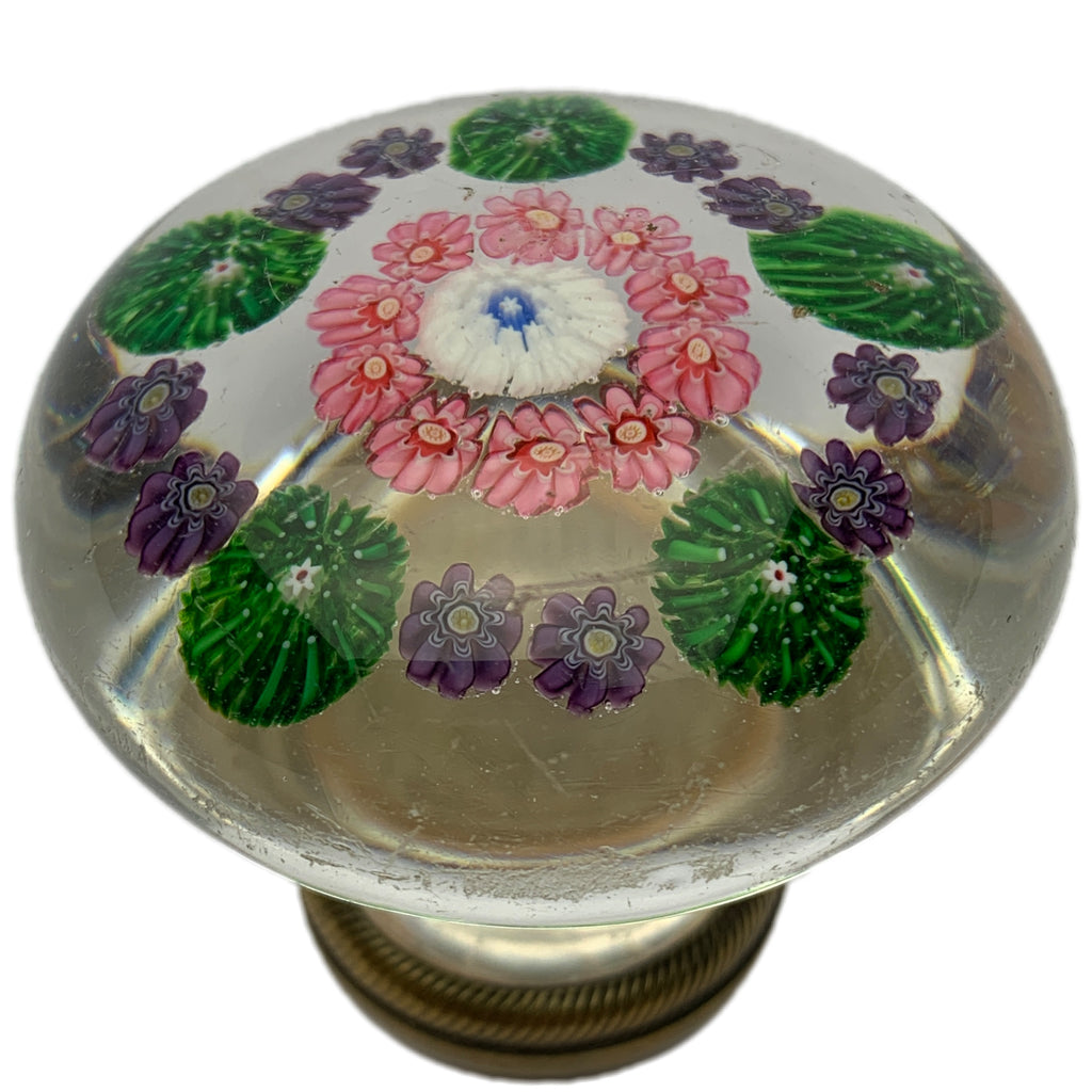 Antique Clichy Open Concentric Complex Millefiori Paperweight Style Doorknob