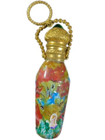 Antique Venetian Scent Bottle with Murrine of a Woman & Aventurine