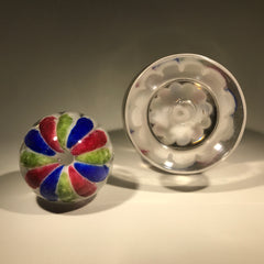 Antique Millville Art Glass Paperweight Bottle Inkwell Red Blue Green Umbrella