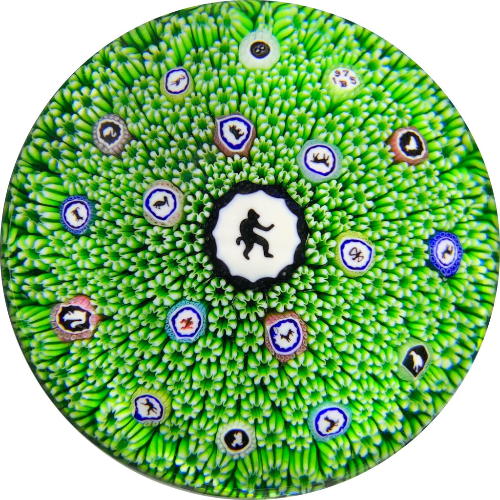 Limited Edition Baccarat Monkey Gridel Silhouette Cane Millefiori Carpet Ground.