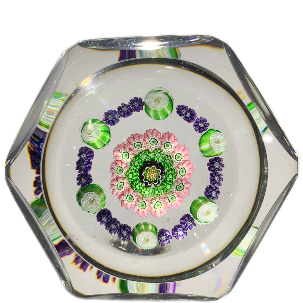 Antique Clichy Complex Open Concentric Millefiori with Green Rose Canes