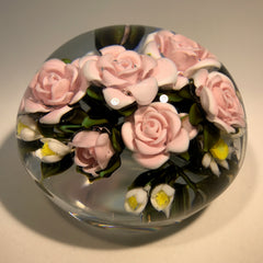 Large  Katsumi Sakakibara Art Glass Paperweight Lampwork Pink Rose Bouquet