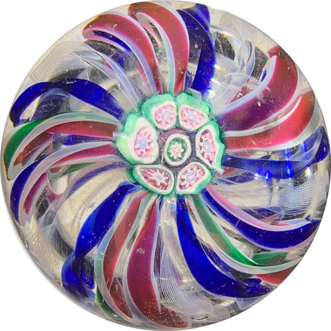 Antique New England Glass Co. NEGC Colorful Ribbon Crown with Complex Millefiori