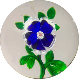 Antique Baccarat Art Glass Paperweight Lampwork Blue & White Dogwood